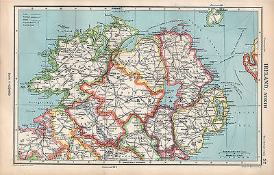 1952 Map ~ Ireland North ~ Donegal Tyrone Londonderry Antrim Down