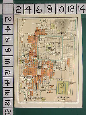 1938 INDIA INDIAN TOURIST MAP ~ MANDALAY CITY PLAN FORT DUFFERIN COURT HOUSE etc