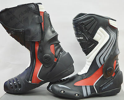LV15 Motorcycle Motorbike Red Leather Water resistant Winter Race Boots