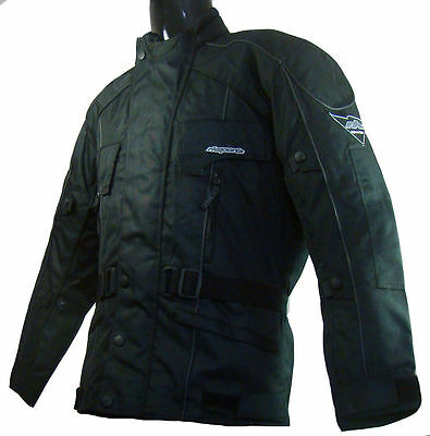 Rossi Waterproof Motorcycle Motorbike Jacket Black Ce Armors Large Sizes
