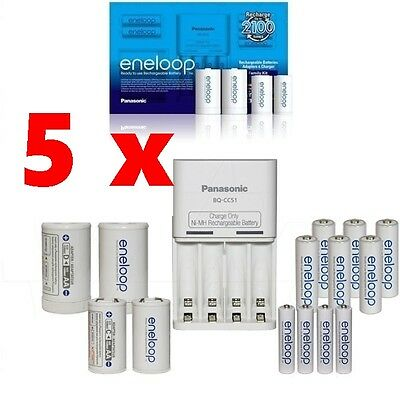 5 x Panasonic Eneloop Family Pack Charger with 10 rechargeable batteries bulk