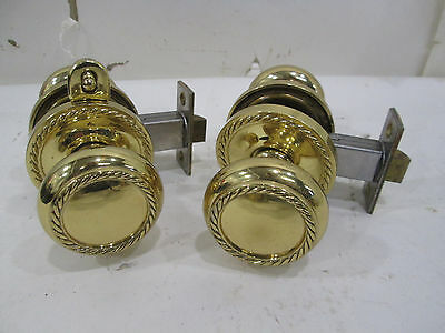 2 Baldwin Brass Co. Interior Brass Door Knob Sets w/Backplates-Rope Design #1