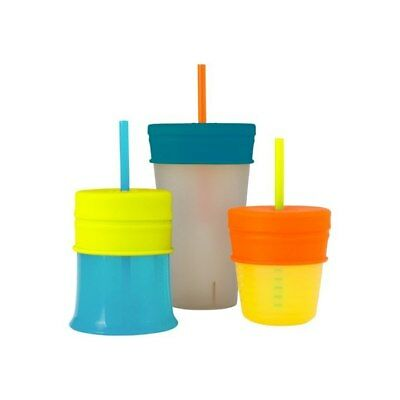 Boon Snug Straw with Cup (Universal Silicone Sippy Lid) - Blue/Orange/Green