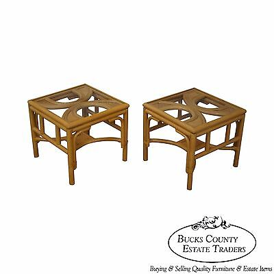 Quality Pair of Rattan Bamboo Square Glass Top Low Tables