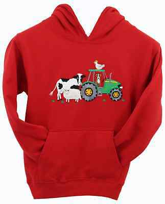 British Country Collection Kids Farmyard Hoody Sweatshirt - Red