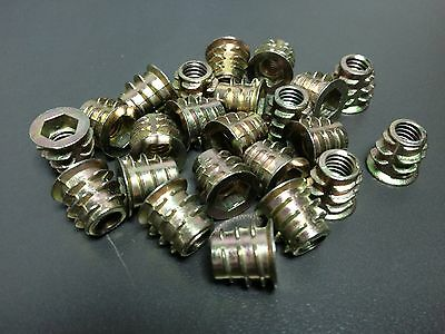 Type D M6 x 13mm Headed Hex Drive Screw In Insert For Wood 100 Pcs #100010