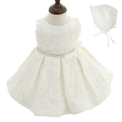 NB-24M Toddler Infant Baby Girls White Gown Christening Baptism Lace Dress AU