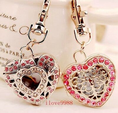 1 pcs Pink Crystal Heart design girls lady Key Ring Pocket Watch 2 styles UKF80