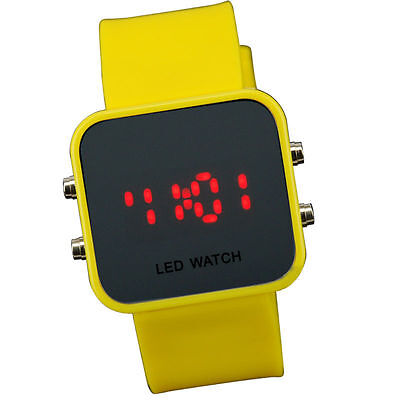 Yellow Jelly Silicone LED Digital Men Womens Square Creative Watch Mirror Sport