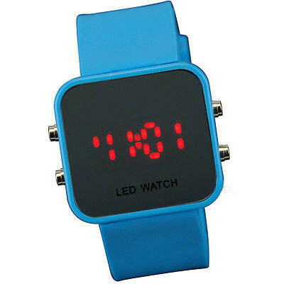L Blue Jelly Silicone LED Digital Men Womens Square Creative Watch Mirror Sport