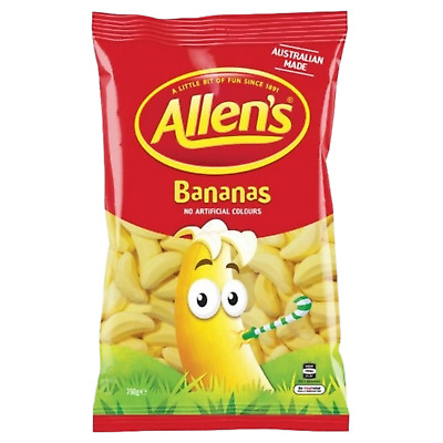 ALLENS BANANA 1kg LOLLIES BULK PARTY FAVOR SWEETS CANDY BUFFET LOLLY FAVOUR BAGS