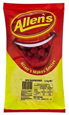 ALLENS RIPE RASPBERRIES 1.3 kg LOLLIES BULK PARTY FAVOR SWEETS BAG CANDY BUFFET