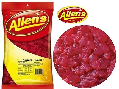 ALLENS FROGS ALIVE RED 1.3 kg LOLLIES BULK PARTY FAVOR SWEETS CANDY BUFFET LOLLY