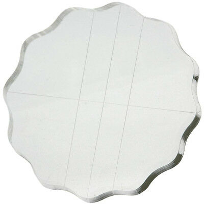 """Apple Pie Clear Stamp Acrylic Block! 3.5"""" Round! w/Grips and Guide Lines"""