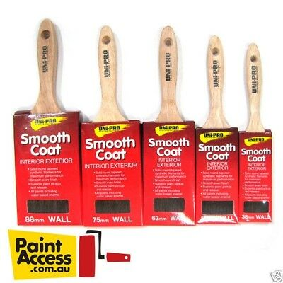 Paint Brushes/ Uni Pro Smooth Coat Pack of 5 brushes 38mm, 50mm,63mm, 75mm, 88mm