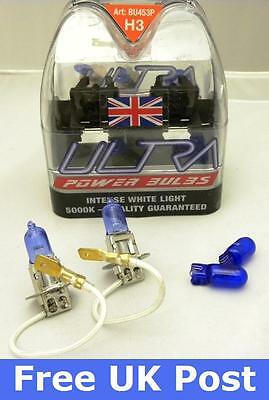 A Pair of H3 Ultra Power Xenon Ice blue Bulbs for VAUXHALL ASTRA MK5