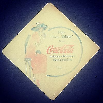 Original Coca Cola 1913 Napkin Coke Advertising Vintage Soda Sign