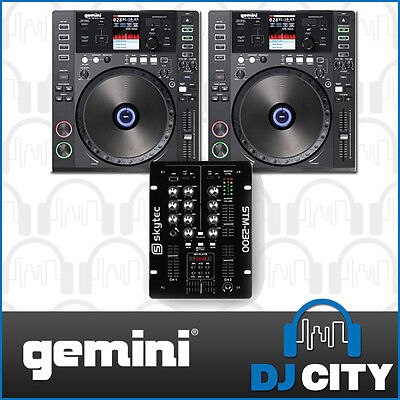 Gemini DJ Package with CDJ-700 DJ CD USB Midi Media Players and Skytec 2 Chan...