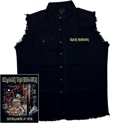 Iron Maiden Somewhere In Time Official Black Sleeveless Work Shirt M L XL