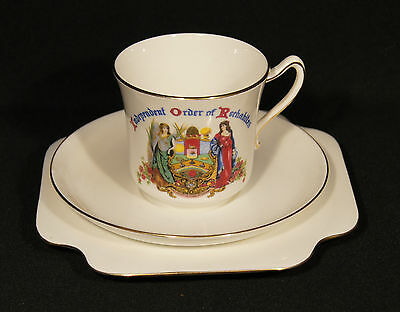 C.1940's Trio Independent Order Of Rechabites Grafton China England Gd Condition