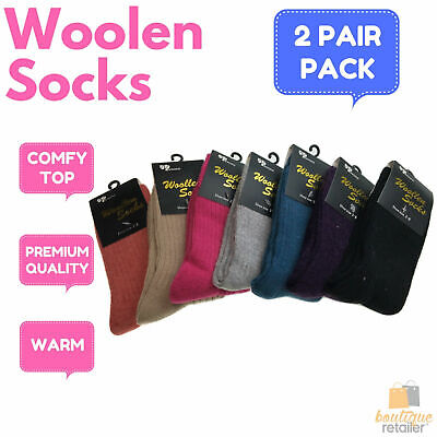2 Pairs WOOL BLEND SOCKS Ladies Womens Thick Soft Work Thermal Warm Winter New
