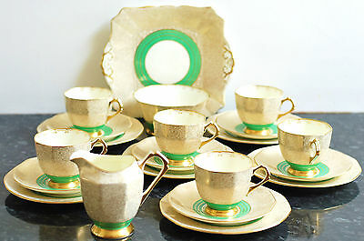 Tuscan Vintage English China Green Gold Art Deco TeasetTeacup Saucer Tea  plate