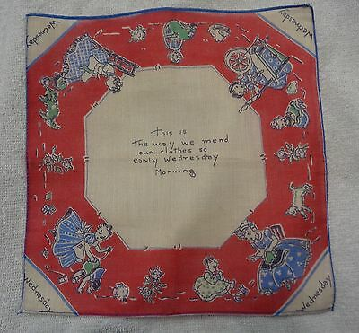 Child's Wednesday Red Edge Mend Clothes DOW Handkerchief