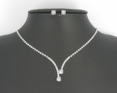 Collana + Orecchini Set Sposa Matrimonio Cristalli Swarovski Necklace Wedding