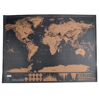 Black World Big Scrape Off Map Personalized Travel Vacation Cool Family Gift AU