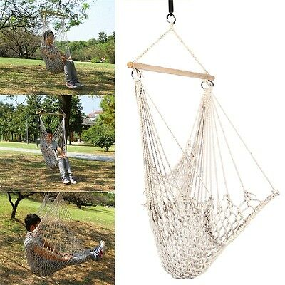 Kids Adults Cotton Rope Net Outdoor Swing Seat Hanging Patio Garden Chair AU