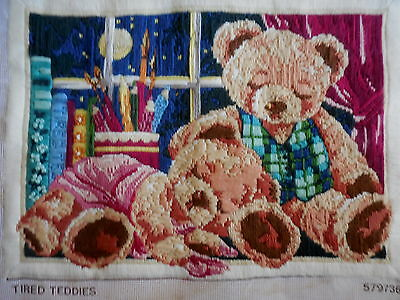 Dmc Long Stitch Tired Teddies 579738 Completed Not Framed 50 X 40 Cm