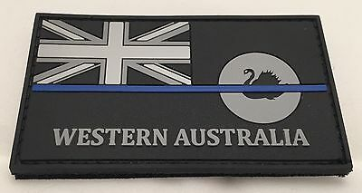 Thin Blue Line, WA Police Rubber/ PVC Patch, State Flag, Hook Rear, TBL