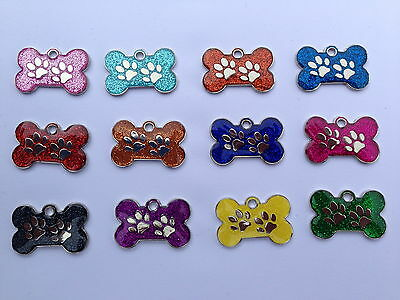 Bone Shape Glitter Metal Pet Id Dog Cat Tag 28mm Various Colours from Melian