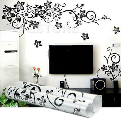 Large flower roses vines vinyl wall art stickers wall for Room decor 6d