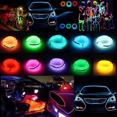 1/2/3/4/5/10/20M LED Flexible Neon Light Glow EL Strip Tube Wire Rope Car Decor
