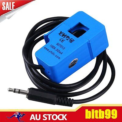 100A Non-invasive AC Current Sensor Split Core Current Transformer Blue AU
