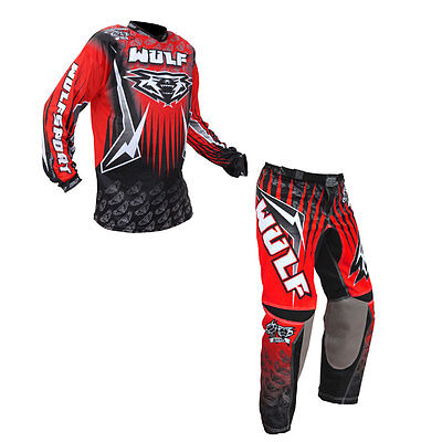 Adults MX Motocross Wulfsport Arena Trouser Pant Shirt Red Set Clothing