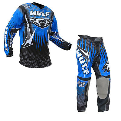 Adults MX Motocross Wulfsport Arena Trouser Pant Shirt Blue Set Clothing