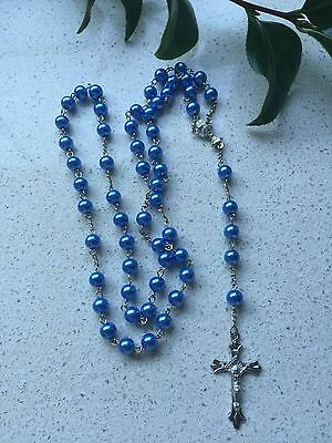 Rosary Bead Crucifix Necklace Christian Jesus Chain Cross Electric Blue