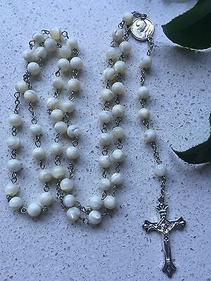 Rosary Bead Crucifix Necklace Christian Jesus Chain Cross  Marble  Ivory