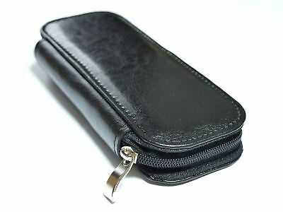 New Real Genuine Leather Zipped Pencil Case Pen Holder