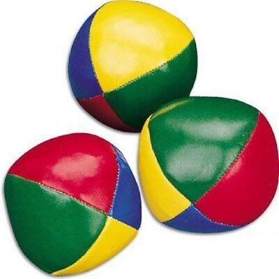 Set of 3 Juggling Balls Circus Clown Coloured Learn to Juggle Toy Game Soft, NEW