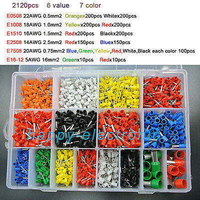 7color 2120pcs Bootlace Ferrules Crimp Connector Insulated Cord Pin End Terminal