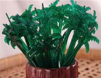 """50 Green PALM TREE Leaves 7"""" Acrylic Reusable TROPICAL DRINK Cocktail STIRRERS"""