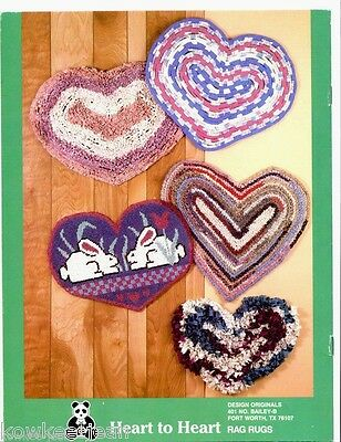 Heart to Heart rag rug patterns OOP crochet and/or rugpoint - see pics