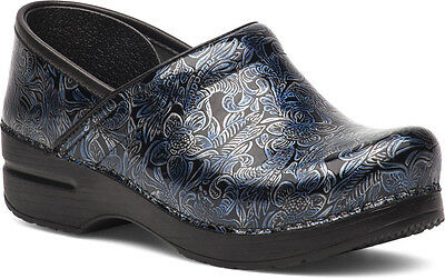 Dansko PROFESSIONAL Womens Silver Blue Tooled Leather Slip On Clogs Shoes