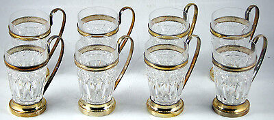 Austrian Silver-Mounted Cut-Crystal Set of Glasses/Cups (8 p.)