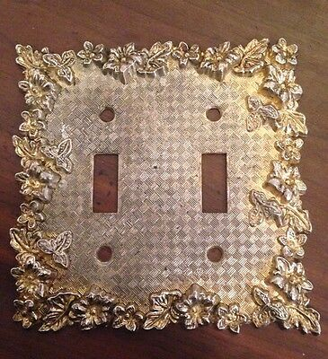 Double Toggle Light Switch Cover Vintage Brass Ornate Floral Art Deco American