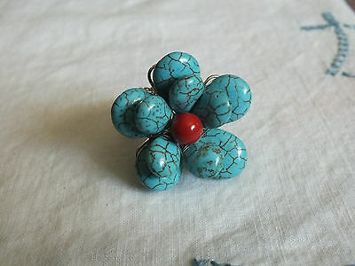 Beautiful Silver Tone Cocktail Ring Stretch ChunkyMarbled Turquoise Rust Flower