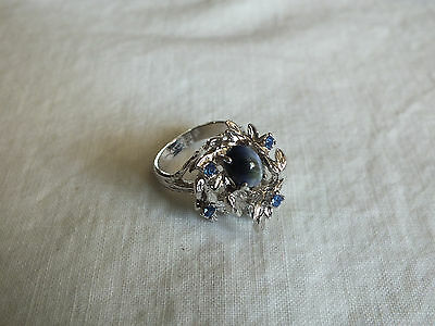 Beautiful Cocktail Ring Silver Tone Signed Blue Rhinestones Center Stone Size 6